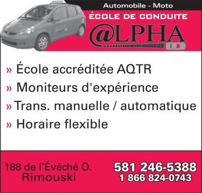 Cours de conduite Alpha Rimouski