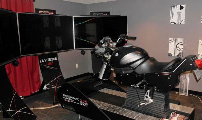 Simulateur de moto Guyome Blais à Saint-Nicolas